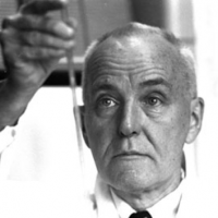 Nobel laureate Charles B. Huggins, the William B. Ogden Distinguished Service Professor in Surgery, working in his laboratory