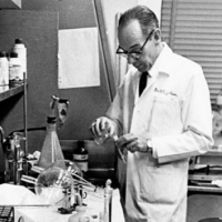 Leon O. Jacobson, the Joseph Regenstein Professor in Medicine, in hislaboratory