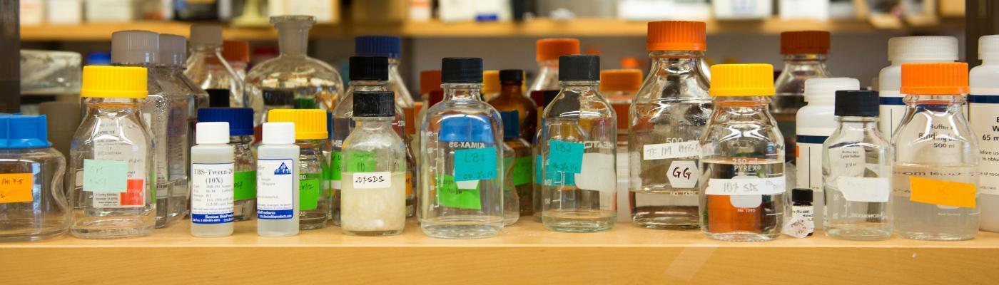 Bottles on a lab shelf