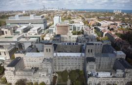 An aerial view of the UChicago campus